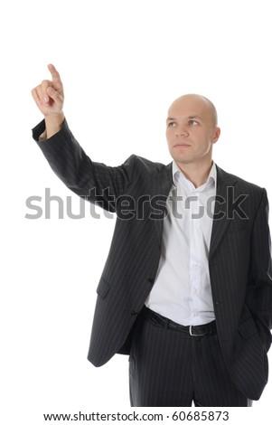 man points finger up. Isolated on white background - stock photo