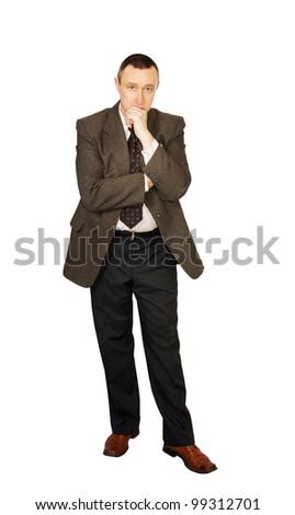 Man ponders some idea - stock photo
