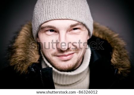 Man portrait. Close up. Face man portrait. - stock photo