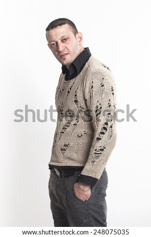 Man portrait looking at camera - stock photo