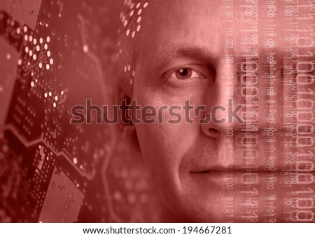 Man portrait on background of electronic circuit board and binary code. - stock photo
