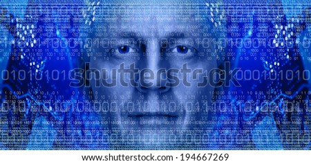 Man portrait on background of electronic circuit board and binary code. Toned blue. - stock photo