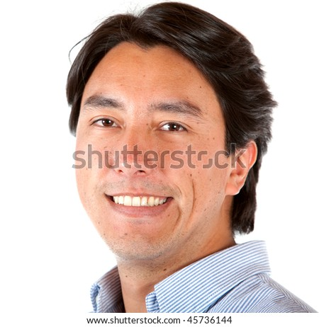 Man portrait smiling isolated over a white background