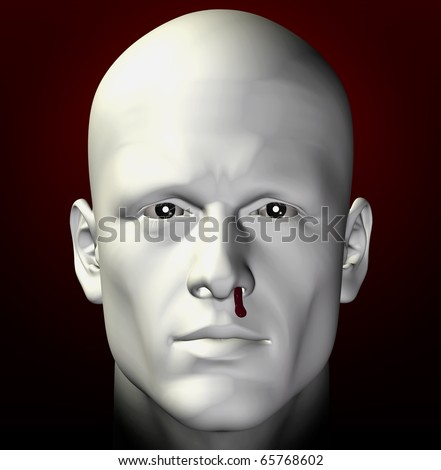 Man portrait with bleeding nose. 3d illustration. - stock photo