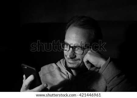Man portrait with smartphone