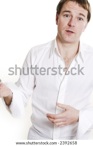 man posing and talking over white background