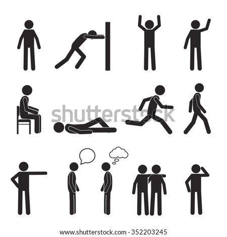 Man posture pictogram and icons set. People sitting, standing, running, lying, talking. Human body action poses and figures. Illustration isolated on white background.
