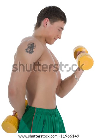 Man practicing fitness  on  white  background