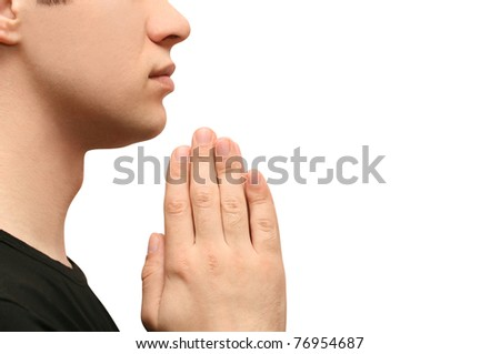 man praying - stock photo