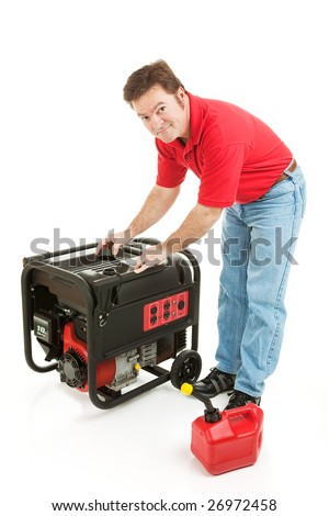 Man preparing to put gas in his portable emergency generator.  Isolated on white. - stock photo