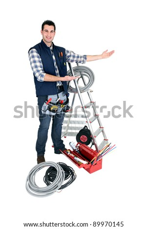 Man presenting his tools - stock photo