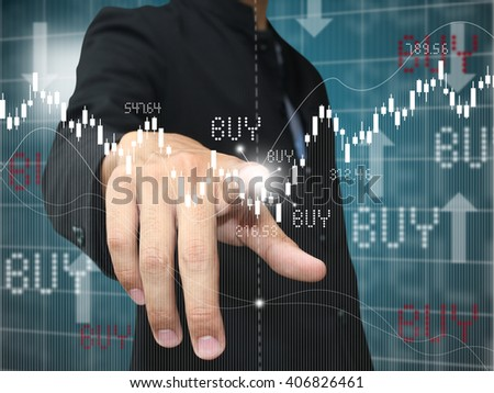 man press buy point - stock photo