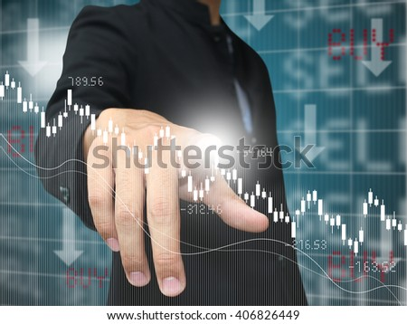 man press down trend stock - stock photo