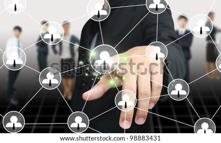 Man press social network - stock photo