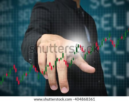 man press stock chart - stock photo