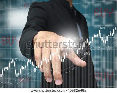 man press up trend stock - stock photo