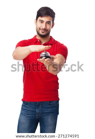 man pressing button - stock photo