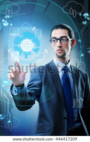 Man pressing buttons in cloud computing concept - stock photo