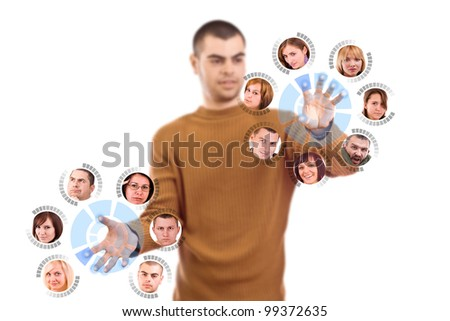 Man pressing digital button, futuristic technology in white background - stock photo