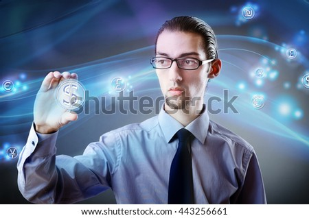 Man pressing dollar sign in finance concept - stock photo