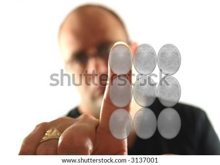 Man pressing keypad - stock photo