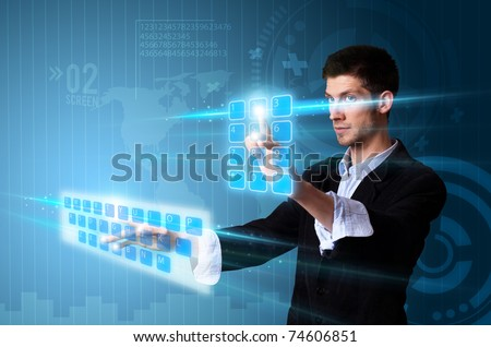 Man pressing modern touch screen buttons with a blue technology background - stock photo