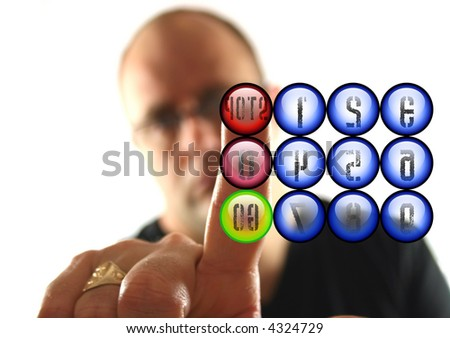 Man Pressing the Red Stop Button ( text Reveresed)