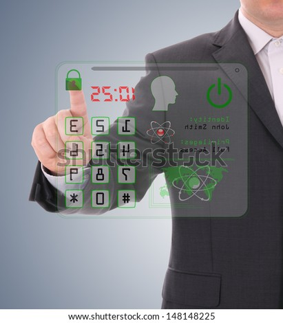 Man pressing the security code - stock photo