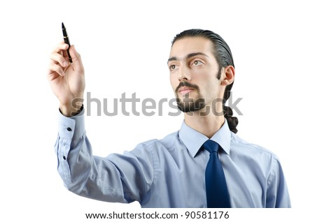 Man pressing virtual buttons - stock photo