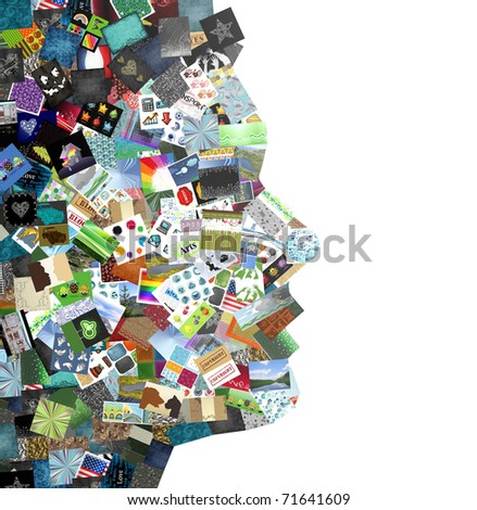 man profile made with images patchwork - stock photo
