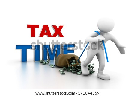 Man pull money.(tax time concept) - stock photo