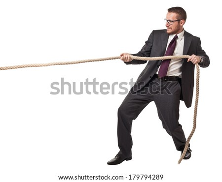 man pull rope isolated on white background - stock photo