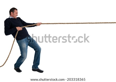 man pulling a rope tug of war isolated white background - stock photo