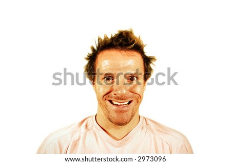 Man Pulling a Very Funny Face - stock photo