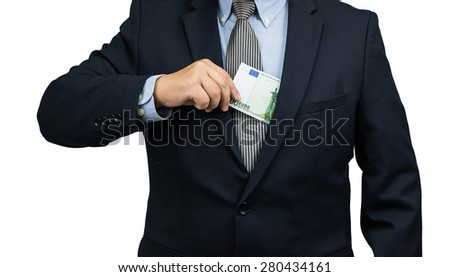 Man pulling Euro money cash out form suit on white background - stock photo