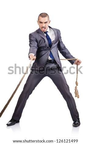 Man pulling the rope on white - stock photo
