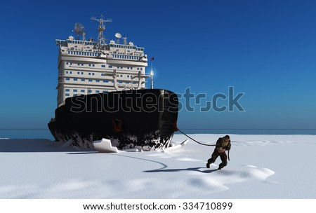 Man pulls a rope icebreaker. - stock photo