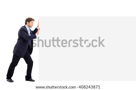 Man push banner on white background - stock photo