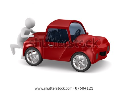 man pushes broken car. Isolated 3D image - stock photo