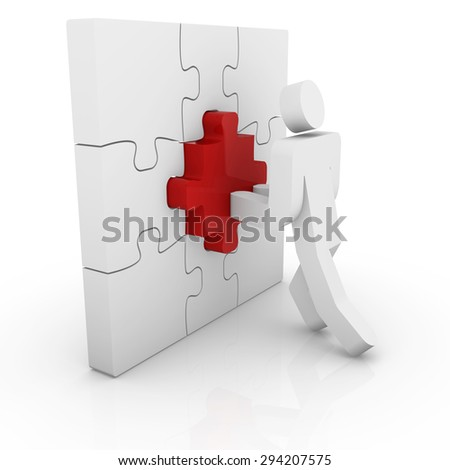 Man pushing a puzzle piece.