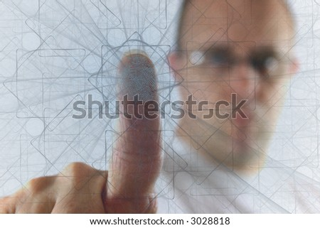 Man pushing finger through the web