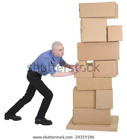 Man pushing pile cardboard boxes on white - stock photo