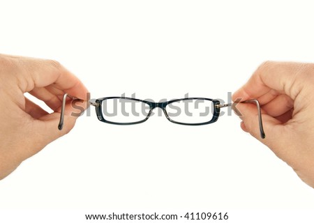 man put on glasses, isolated white fill - stock photo