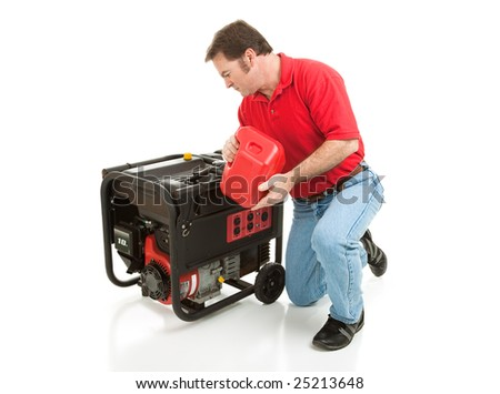 Man puts gasoline in his 10 horsepower electric generator.  Full body isolated on white. - stock photo