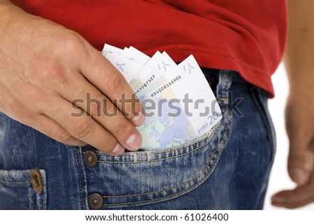 man putting money into the pocket