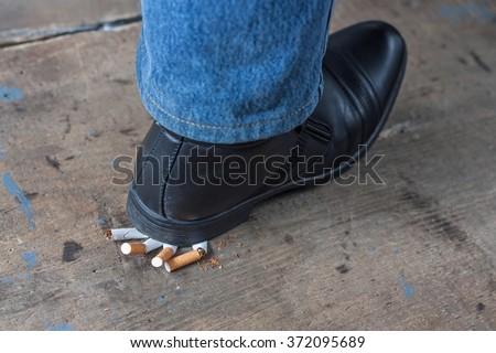 Man quit smoking - stock photo