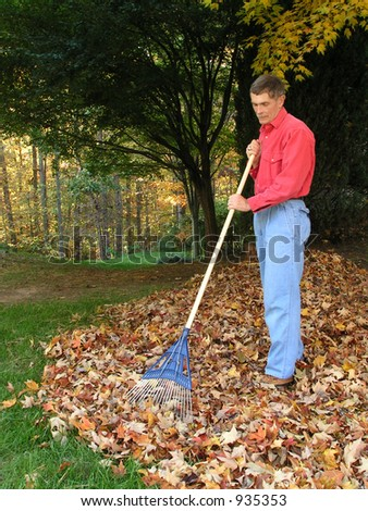 Man Raking Autumn Leaves - stock photo