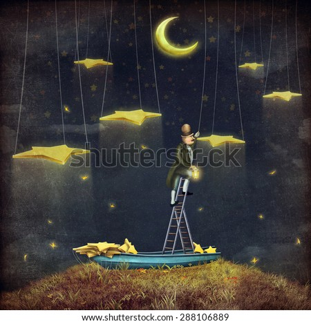 Man reaching for stars at top of tall ladder - stock photo