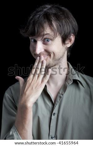 man reacts to gossip - stock photo