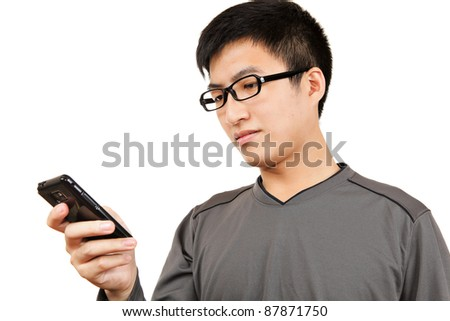 man read SMS on cellphone